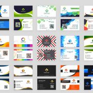 ۱۵ abstract design pattern set of horizontal Business card with front and back presentation.